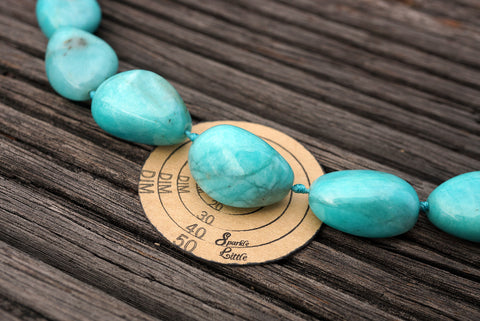 (SPL00054) Peruvian Amazonite organic form/pebble beads (large)