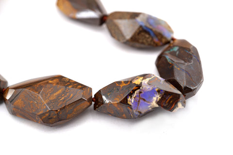 Rare Boulder Opal freeform faceted beads (ETB00457)