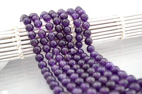 Amethyst 7mm round beads (ETB01319)