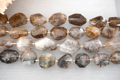 Cacoxenite Quartz A grade faceted beads (ETB00199)