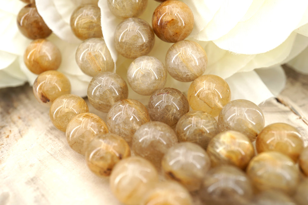 AA Grade Rutilated Quartz 10.5-11.5mm round beads (ETB00121)