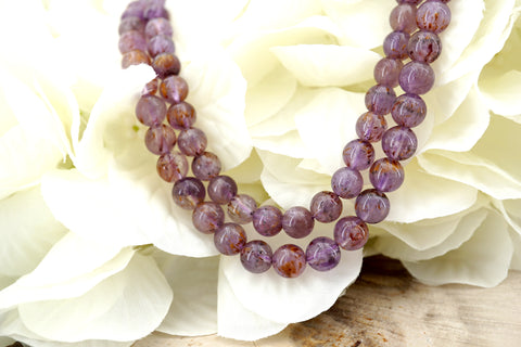 Cacoxenite Amethyst 7-7.5mm round beads (ETB01341)