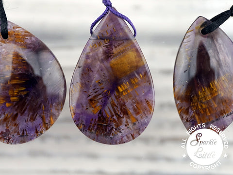 Cacoxenite Amethyst Freeform Pendants (ETP00268)