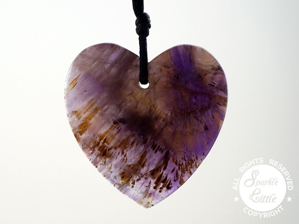 Cacoxenite Amethyst Heart Shape Pendants (ETP00270)