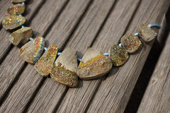 Rare and exotic Russian Rainbow Pyrite 8-23.5mm freeform beads (ETB00808)