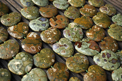 Rainforest Rhyolite 33-43mm heart shape beads (ETB00565)