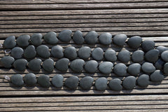 Matte Australian Black Jade 30-35mm heart shape beads (ETB00557)