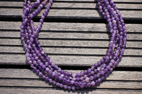 Natural Amethyst (Brazil) 5-6mm round beads (ETB00146)