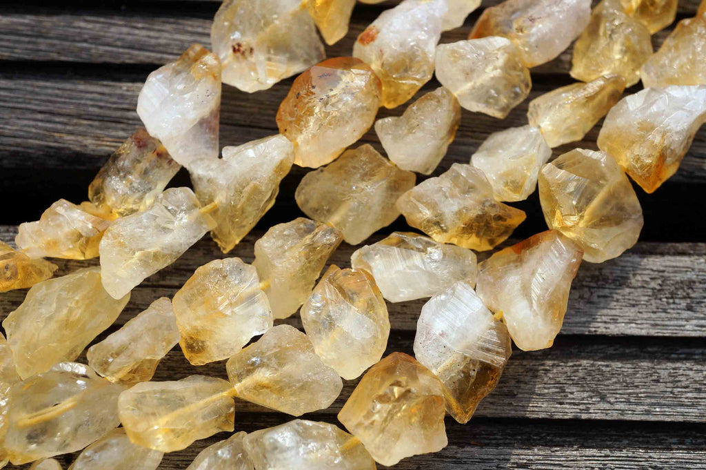 Natural Citrine quartz (Brazil) hand hammered beads (ETB00081)