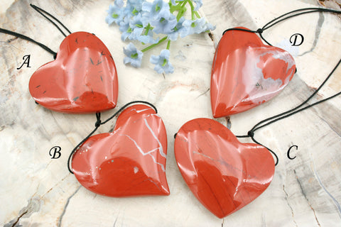 Red jasper heart shape pendants (ETP00163)