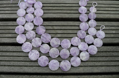 Natural Lavender Amethyst (Madagascar) 21-27mm Round disc beads (ETB00241)