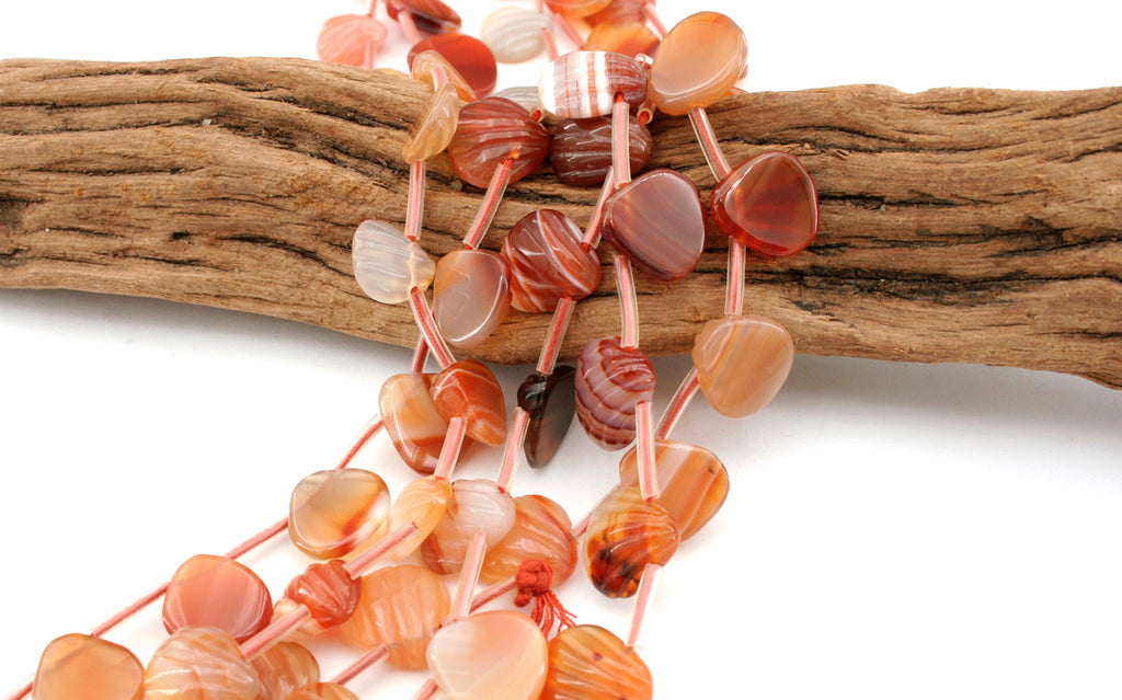 Carnelian 11.5-13.5mm shell shape beads (ETB01308)