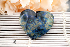 Rare and Natural Azurite heart shape pendants (ETP00324)