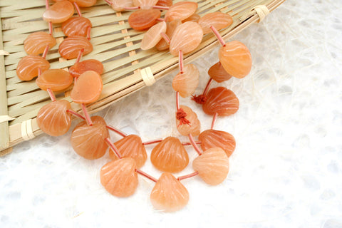 Peach Aventurine 15-17.5mm shell shape beads (ETB01307)