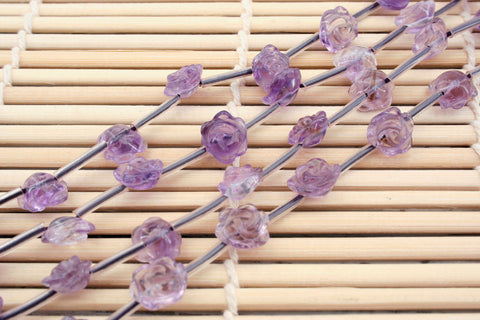 Amethyst 8-11mm handmade rose beads (ETB00356)