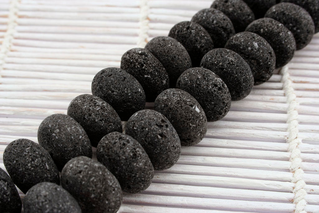 Natural Lava 22mm rondelle beads (ETB01245)
