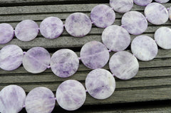 Natural Lavender Amethyst (Madagascar) 25-38mm round disc beads (ETB00242)