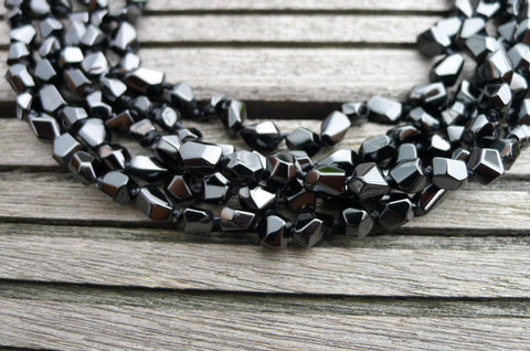 Black Spinel 5-8mm faceted beads (ETB00190)