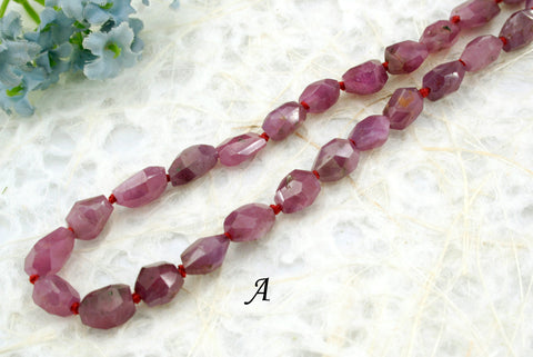 Genuine Ruby Corundum faceted beads (ETB00919)
