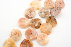 Pink Agate 14.5-17.5mm wave shape beads (ETB01312)