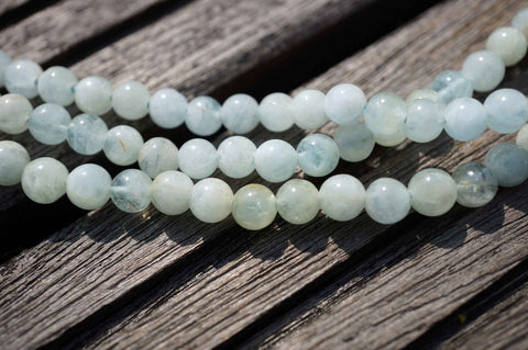 Aquamarine AB grade 5-6mm round beads  (ETB00128)