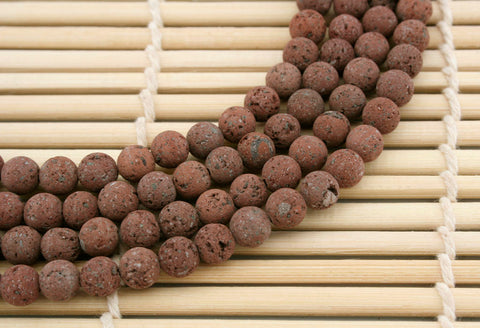 Natural Brown Lava 6mm round beads (ETB01242)