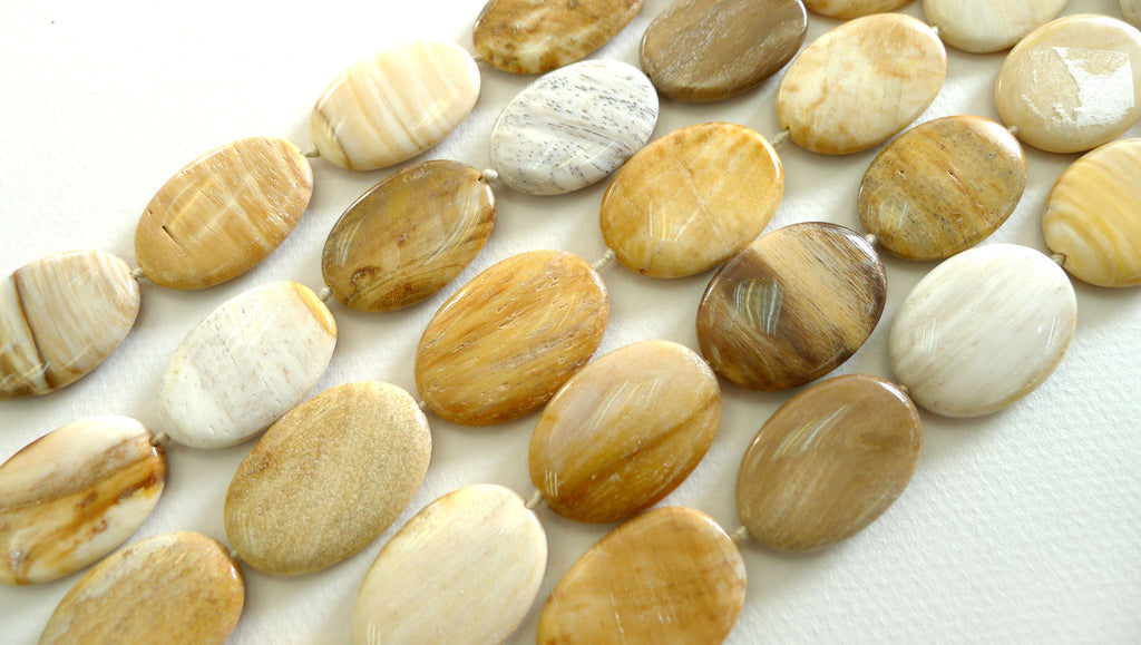 Honey Palm Wood 30x20mm oval flats beads (ETB00015)