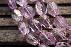 Natural Amethyst (Brazil) faceted freeform beads (ETB00059)