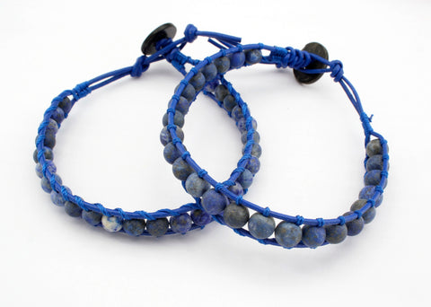 Fashionable Leather bracelet with matte Lapis round beads (ETO00032)