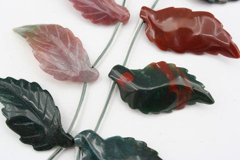 Blood Stone 31-38.5mm leaf beads handmade (ETB01272)