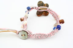 Fashionable Rayon bracelet with Cherry Creek butterfly beads Pearl, Lapis, Noreena jasper & Wood opalite (ETO00034)