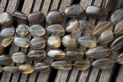 Shiny polished Silver Moonstone pebble beads  (ETB00108)