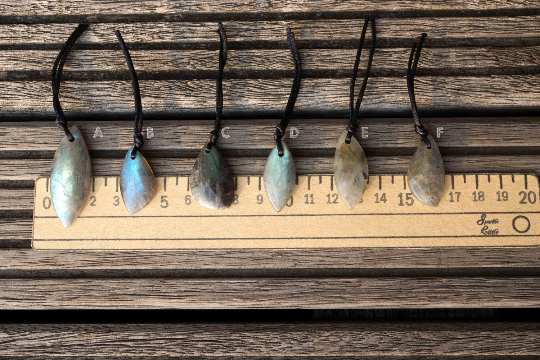 Beautiful grey blue & exotic Labradorite small freeform pendants from Madagascar (ETP00171)