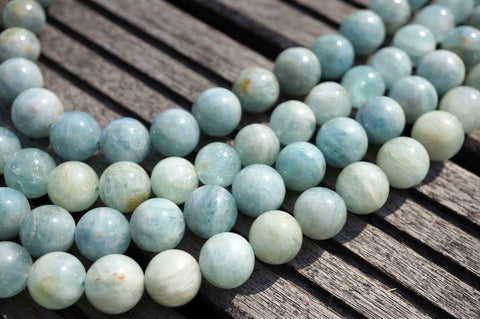 Aquamarine AB grade 13-14mm round beads  (ETB00131)