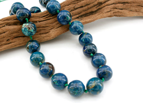 Rare and beautiful Shattuckite 15mm round beads (ETB01121)