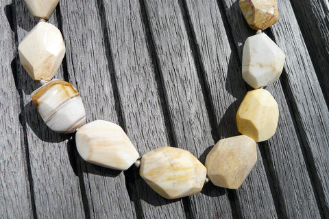 (SPL00023) Petrified Honey Palm Wood large faceted beads