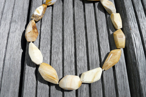 (SPL00026) Petrified Honey Palm Wood large faceted beads