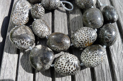 (SPL00010) Fossilised Bryozoan Coral freeform beads (large)