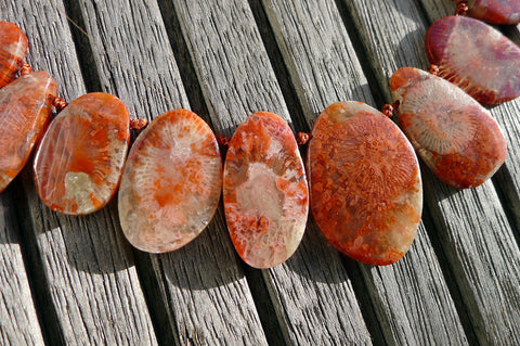 (SPL00060) Fossilised Red Horn Coral freeform beads/necklace top side drilled