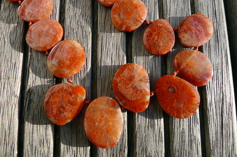 (SPL00059) Fossilised Red Horn Coral freeform beads/necklace top side drilled