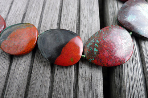 (SPL00037) Sonora Sunrise Sunset stone organic freeform flat beads (large)