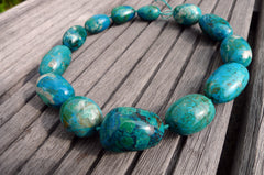 (SPL00038) Peruvian Chrysocolla organic freeform pebble beads (large)