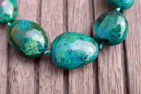 (SPL00039) Peruvian Chrysocolla organic freeform pebble beads (large)