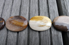 (SPL00031) Petrified Wood large oval flat beads
