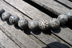 (SPL00005) Fossilised Bryozoan Coral round beads