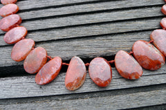 (SPL00061) Fossilised Red Horn Coral freeform beads/necklace top drilled
