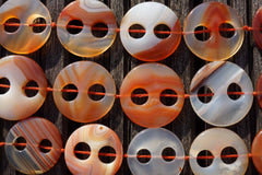 Carnelian large 32-38mm round button two holes beads (ETB00278)