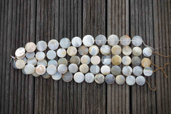 Grey Agate 29-37mm round disc beads (ETB00366)