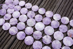 Natural Lavender Amethyst (Madagascar) 26-35mm round disc beads (ETB00476)