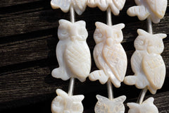 Handmade White Mother of Pearl /MOP 15-17mm Owl beads (ETB00286)